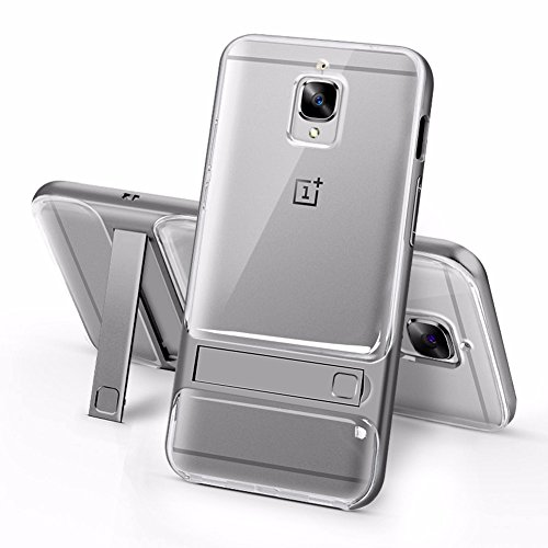 Sanchar's For 2in1 Kick Stand kickstand Shockproof Dual Layer Back Case Cover For Oneplus 3 / Oneplus 3T / 1+3 / 1+3t Case cover (Gray/transparent)