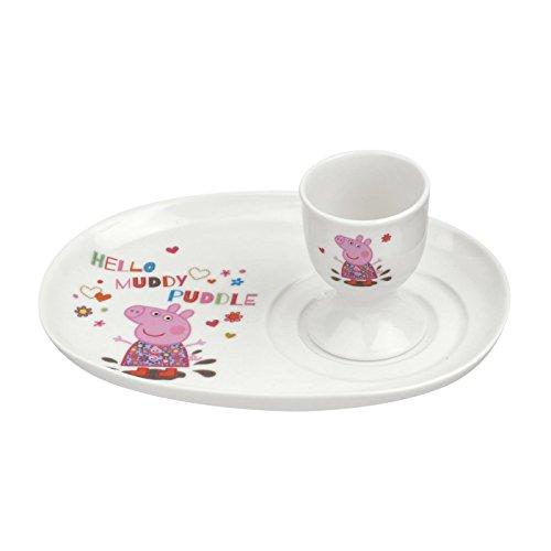 Peppa Pig - Set de huevera con plato, diseño de La cerdita Peppa, multicolor
