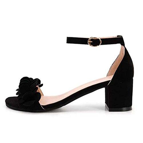 Smrbeauty elegante sandali con tacco alto donna,estivi boemo scarpe con sandali donna , ragazze i fiori adornano il fermaglio sandali piatti da donna sandali (37, bero)