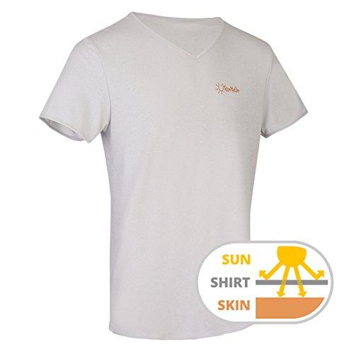 Durchbräunendes V-Ausschnitt Shirt für Herren von TanMeOn, Unter dem T-Shirt braun werden, Farben: Weiss, Blau oder Grau, Größen: S, M, L, XL, XXL (Grau, XL) (Männer-hockey-jersey)
