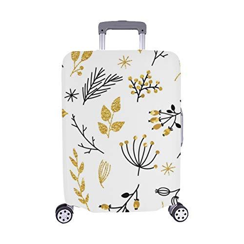 (Nur abdecken) Gold Floral Glitter Textured Staubschutz Trolley Protector case Reisegepäck-Schutzkoffer-Abdeckung 28,5 X 20,5 Zoll -