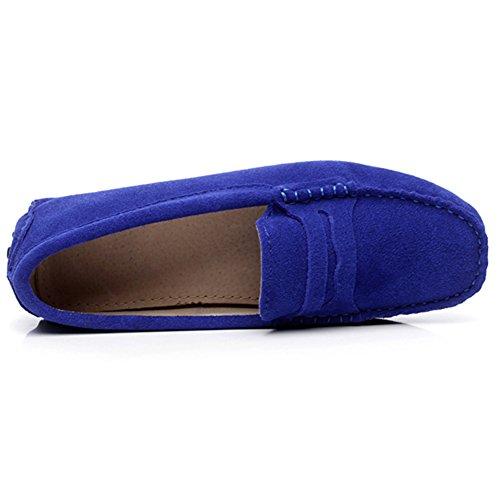 Rismart Femmes Mode Glisser Sur Mocassins Décontractée Suède Cuir Flâneurs Chaussures Blu (Blu Royal)