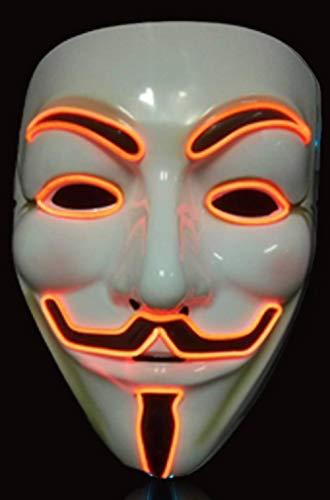 Haloween Kostüm Männliche - XIBAO Party Show Masken, leuchtende Maske, Festliche Karnevalsnacht männliche und weibliche Fluoreszierende Dekoration, Orange, Halloween Maske, für Festival Cosplay Kostüm
