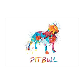 ArtsyCanvas Pit Bull Watercolor Splatter Art (Poster), 36 x 24