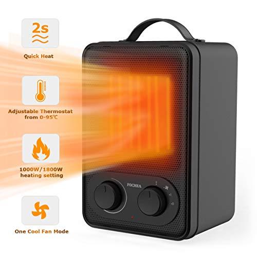Fochea Calefactor Cerámico Eléctrico con Termostato Ajustable, 2 Potencias de Calor...