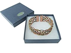 Idea Regalo - Amazing Health Ampia pizzo 3colori braccialetto magnetico in rame, ottone e alluminio