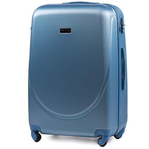 Vinci luggage carrello spazioso - valigia leggera per aeroplano - custodia lussuosa e moderna con impugnatura telescopica a due stadi e lucchetto a combinazione (blu argento, l 75x47x29)
