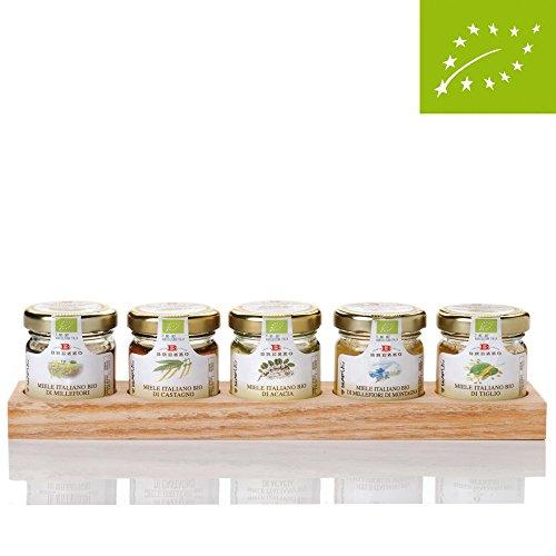 Apicoltura Brezzo Honig Geschenkset, Bio, Minigläser auf Holztablett, 5x35g
