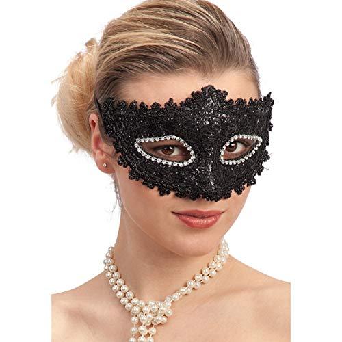 Palucart 1 Maschera di Pizzo Nero e Strass Maschera Sexy da Donna  Travestimento Mascherata Ballo Carnevale c5e6d091eb53