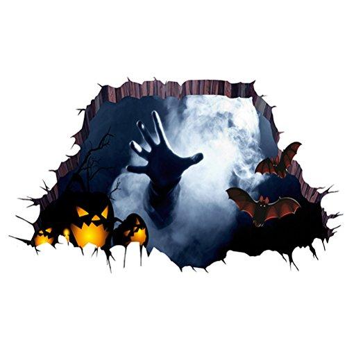 (LUOEM 3D Halloween Boden Aufkleber Halloween Horror Wand Dekor Schlafzimmer Wohnzimmer Haushalt Zimmer Spukhaus Dekor Wandsticker Ghost Hand durch den Boden Wandbild Dekor)