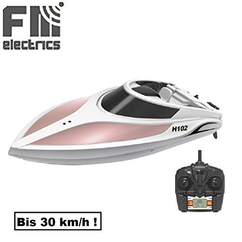 Fm-electrics FM102 H102 | High-Speed Rennboot 39 cm lang, bis 30 km/h schnell, mit Rollenfunktion, 2.4 GHz 4-Kanal, LiPo-Akku 7,4 Volt-800 mAh, in weiß-terra Motorboot