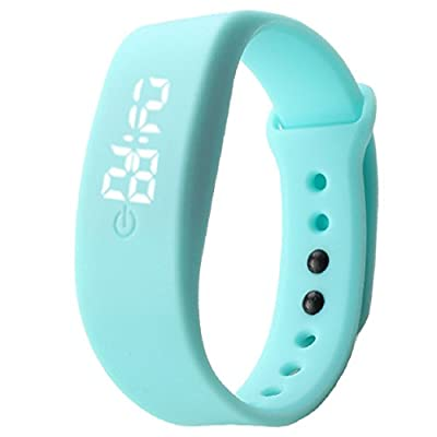 Vovotrade Damen Herren Gummi LED Uhr Datum Sports Armband-Digital-Armbanduhr(Himmelblau)