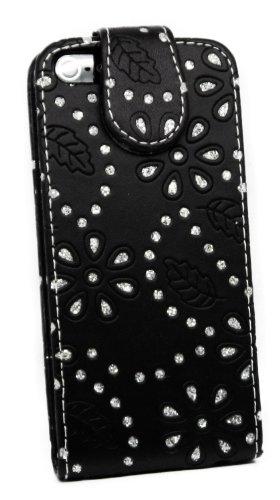 Kit Me Out FR Étui à rabat cuir synthétique pour Apple iPhone SE / 5S - blanc petites fleurs strass noir petites fleurs strass