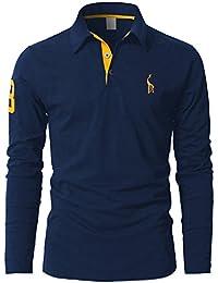 STTLZMC Poloshirts Herren Basic Langarm Baumwolle Polohemd M-XXL