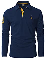 Idea Regalo - Mentrend-Leisure Leisure Polo Manica Lunga da Uomo Tennis T-Shirt Gentiluomo Ricamo Tops,Blu,XX-Large