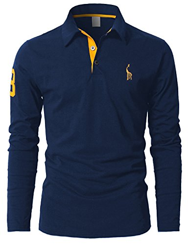 STTLZMC Poloshirts Herren Basic Langarm Baumwolle Polohemd M-XXL,Blau,X-Large