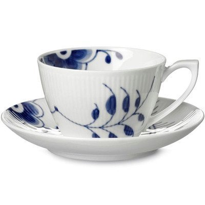 Royal Copenhagen Blue Fluted Mega Tea Cup Saucer by Royal Copenhagen