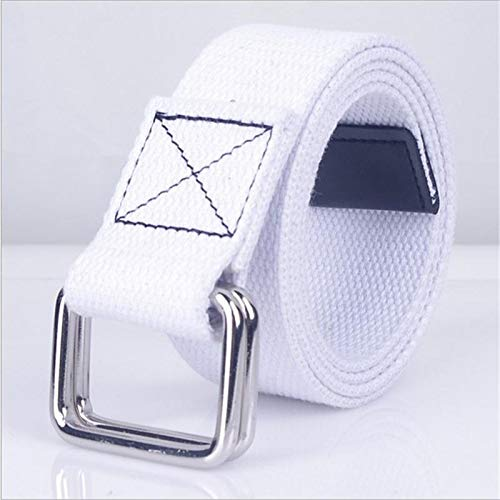 Designer-stil-gürtelschnalle (ZHYAODAI Mode Lässige Männer Gürtel Double Ring Schnalle Bunte Canvas Gürtel Luxus Designer Jeans Für Frauen Gürtel, Weiß, 105 cm)