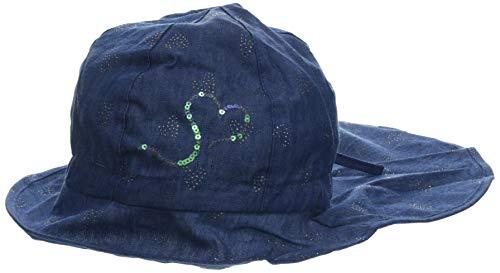 maximo Mädchen Flapper, Nackenschutz Mütze Blau (Denim Blue-Silber-Herzen 63) 55