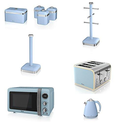 Swan Kitchen Appliance Retro Set - 20l Blue Microwave, 1.5l Jug Kettle, 4 Slice Toaster, Retro Breadbin, 3 Canisters Set, Towel Pole & 6 Mug Tree