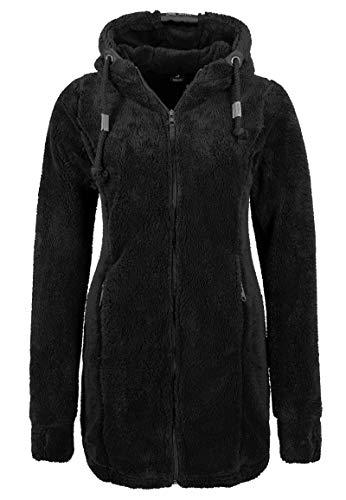 Sublevel weicher Damen Kuschel Fleece-Mantel mit Kapuze Black M