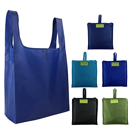 Large Reusable Shopping Bags Foldaway 5 pcs, Grocery Tote Folded into Attached Pouch, Ripstop Polyester Shopper Bags, Washable, Durable and Lightweight