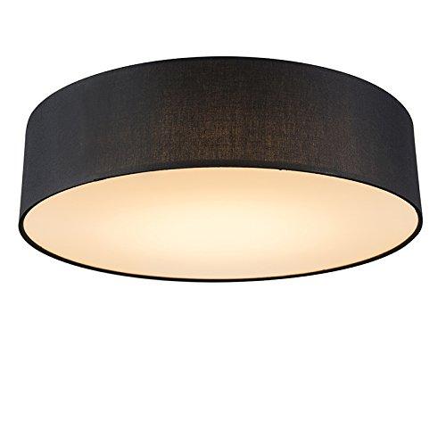 QAZQA Modern Deckenleuchte / Deckenlampe / Lampe / Leuchte Drum mit Schirm LED 40 schwarz / Innenbeleuchtung / Wohnzimmer / Schlafzimmer / Küche Metall / Textil / Rund inklusive LED (austauschbare) LED Max. 1 x 20 Watt