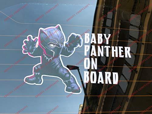 Baby Black Panther ON BOARD, Pegatina para coche y moto. Marvel Universe