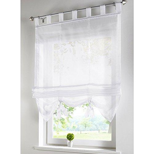 1er-Pack Raffrollo Voile Transparent Gardinen mit Schlaufen Vorhänge Vorhang (BxH 100x155cm, Weiß)