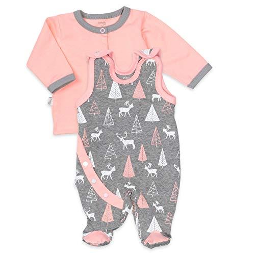 Koala Baby Strampler 2er-Set für Mädchen mit Shirt im Wald-Tier-Motiv | Baby-Kleidung für Neugeborene & Kleinkinder | Größe: 9-12 Monate (80) | Grau - rosa