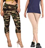 Aglobi Women's/Girls Biowashed 220 GSM Premium Cotton Casual/Gym/Sports 3/4th Capri (Free Size 26 to 34)
