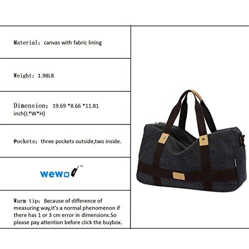 Wewod Große Kapazität Wochenende Seesack Turnhalle Messenger Tasche Canvas Material (Khaki) Schwarz