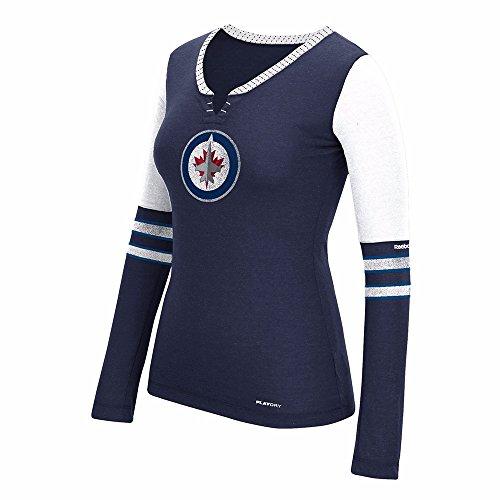 Reebok Winnepeg Jets NHL Damen Blau Face Off Tri Blend Henley Long Sleeve Tee, Damen, Blau, Large - Henley Tee