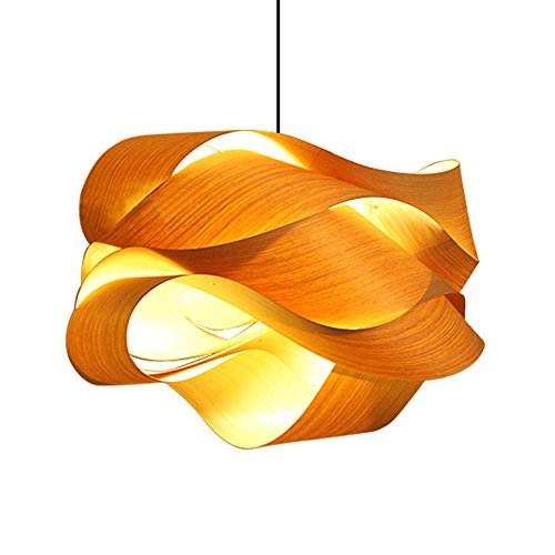 Hanamaki Moderne Designer Retro Holzfurnier Runde Trommeln Decke Pendelleuchte Schatten (Schatten Bambus-designer)
