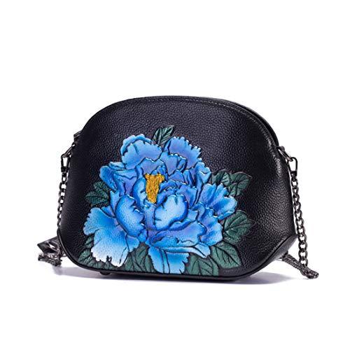 Hemotrade Damen Vintage Leder Designer-Handtasche mit Blumenmuster Oben Griff Umhängetasche für Arbeit und Reisen blau - Griff Designer-handtasche