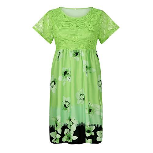 Damen Kleider Blumen Cocktailkleid Abendkleid,Neuer Rock Kurzärmliges Kleid mit Spitzenausschnitt Bedruckte Kurzarm Dress Frauen Druck Dress S-5XL - Asymmetrische Brautkleid