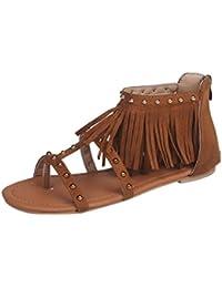 Damen Sandalen Mumuj New Fashion Solid Farbe Slingback Quaste Sommer Schuhe Frau Niet Quasten Flachen Absatz Sandalen...