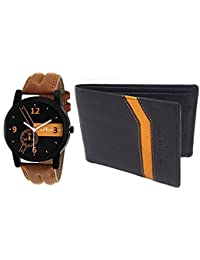 XPRA Analogue Watch & Leather Wallet Combo For-Men & Boys-WCH-WL