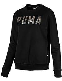 00df479da Puma Athletic Crew Sudadera, Mujer, Negro (Cotton Black) / Gris (Metalic