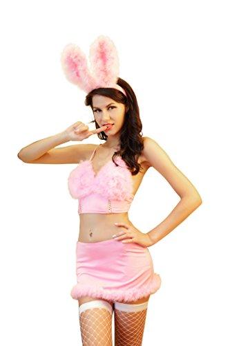 Damen Kleid Nachtwäsche Babydoll Dessous Set Playboy Bunny Kostüm Cosplay Kostüm Reizwäsche (Kostüm Halloween Bunny Playboy)
