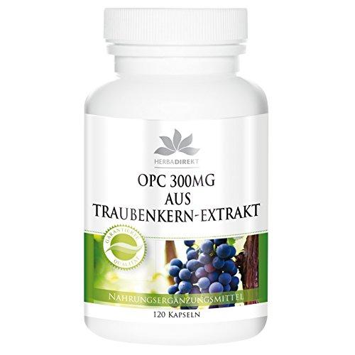 Herbadirekt OPC 300 mg aus Traubenkern-Extrakt, 120 Kapseln, vegi, 1er Pack (1 x 50 g)