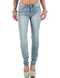 11d9abac1c1c Rock Angel Damen Jeans Mid-Waist Slim-Fit Hose Freizeit Casual Stretch