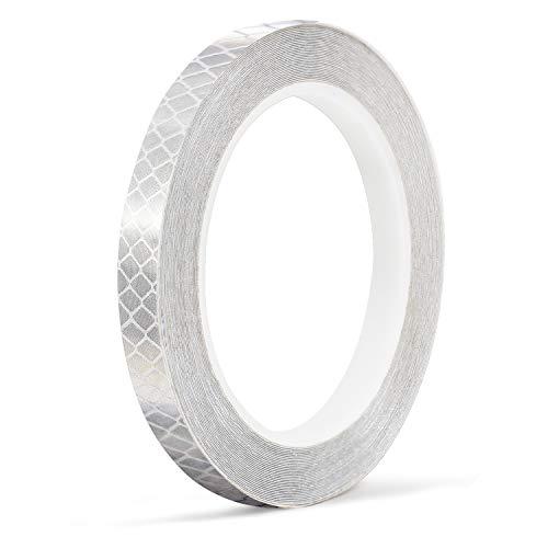 Diamond Reflektor (10M Reflexstreifen, ONTWIE Fahrrad Reflektierende Aufkleber Hallo Viz Weiß Reflektierende Band Fahrrad Aufkleber Auto Motorrad Reifen Aufkleber Mountainbike Zubehör - 1 cm)