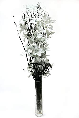 Argento netlon bouquet di fiori organico fatto a mano e indiano secchi grasses. circa 78cm tall. vaso non incluso