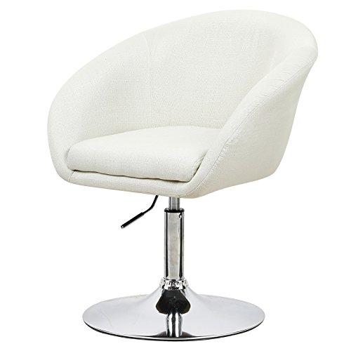 Barsessel 1er-Set, Cremeweiß, Barstuhl mit Rücklehne und Armlehne, Sitzfläche aus Leinen, drehbare und höhenverstellbare Barhocker, BH61cm-1 (1 Armlehne)