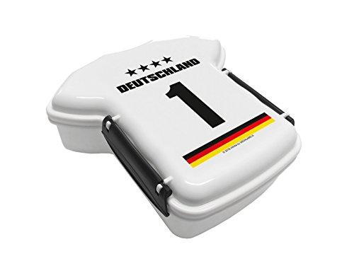 infinite by GEDA LABELS Trikot Deutschland 1 Brotdose, Plastik, weiß 16.5x17.5x7 cm
