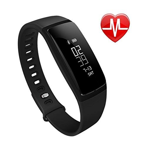 EletecPro V07 Fitness Tracker Schrittzähler Sport Wasserdichte Smart Watch Herzfrequenz Monitor Wristband Bluetooth 4.0 Wireless Armband Touch Screen Activity Tracker Für iPhone Android und mehr Smartphones.