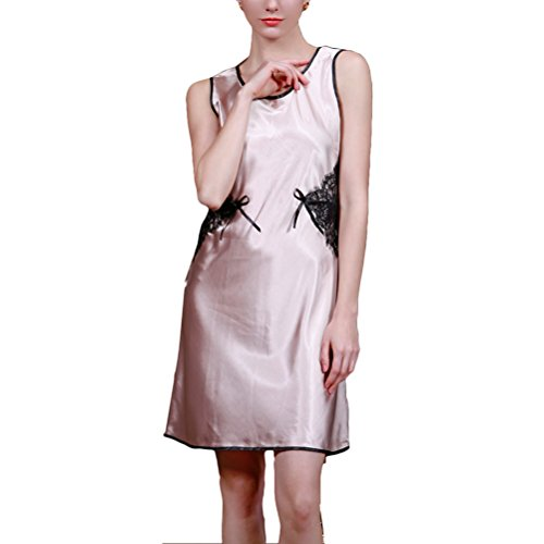 Zhhlinyuan Sexy Women's Silk Sleeveless Nightgowns Enchanting Lingerie Sleepshirts Camel