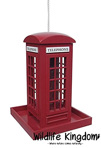 Wildlife Kingdom 50880 Bird Feeder Hanging Traditional Red Telephone Box Feeding Station (20 x 14 x 14cm)