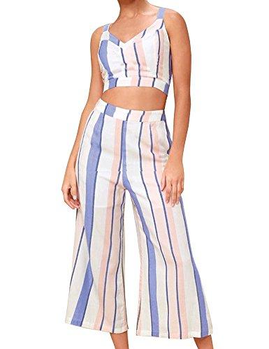 ifen Gedruckt 2 Stücke Outfits Crop Cami Top mit Hose Set Lässige Kleidung Set M ()